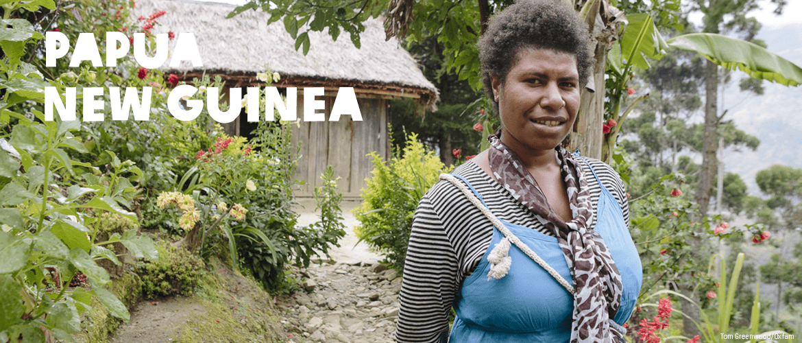 Woman in a garden in Papua New Guinea