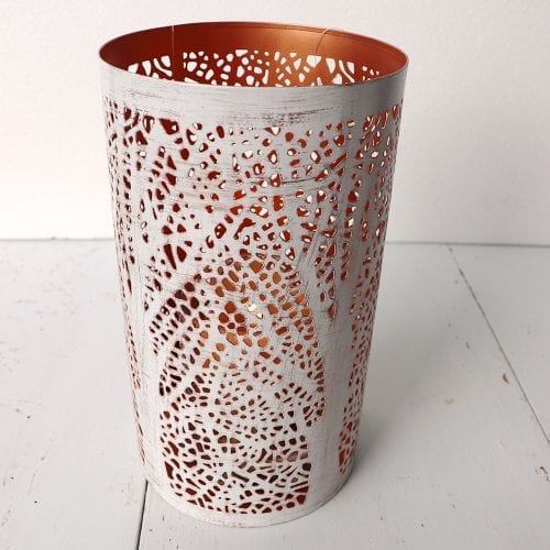 white-and-copper-jali-cut-candle-holder