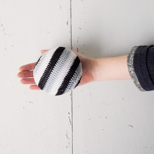crochet-ball-with-black-white-and-grey-stripes