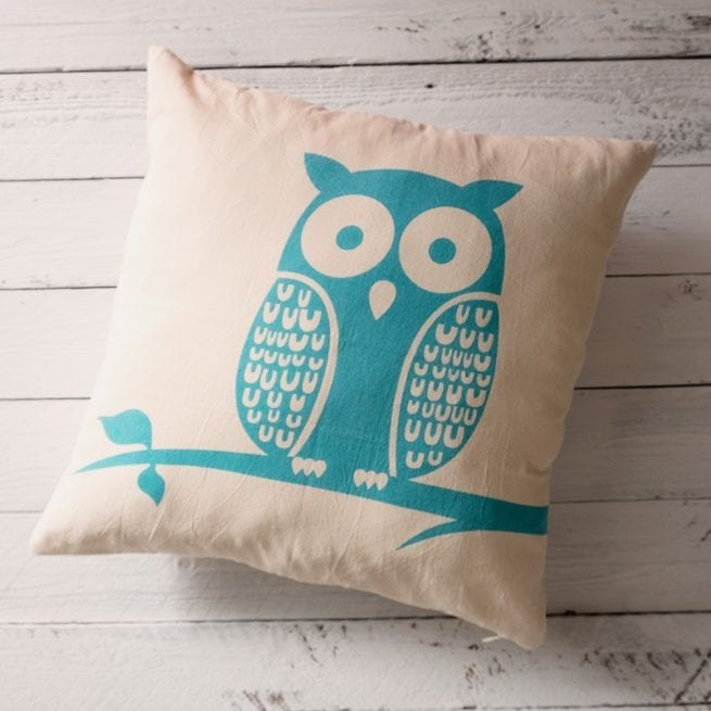 white-cushion-cover-with-blue-owl-print-oxfam-nz