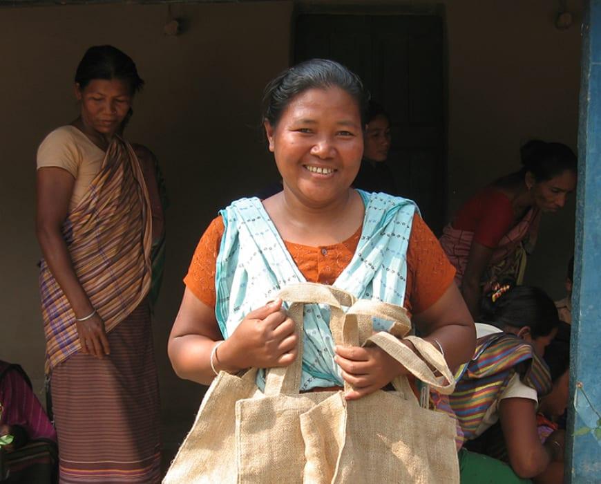 Pimola Nokrek - one of the jute bag artisans