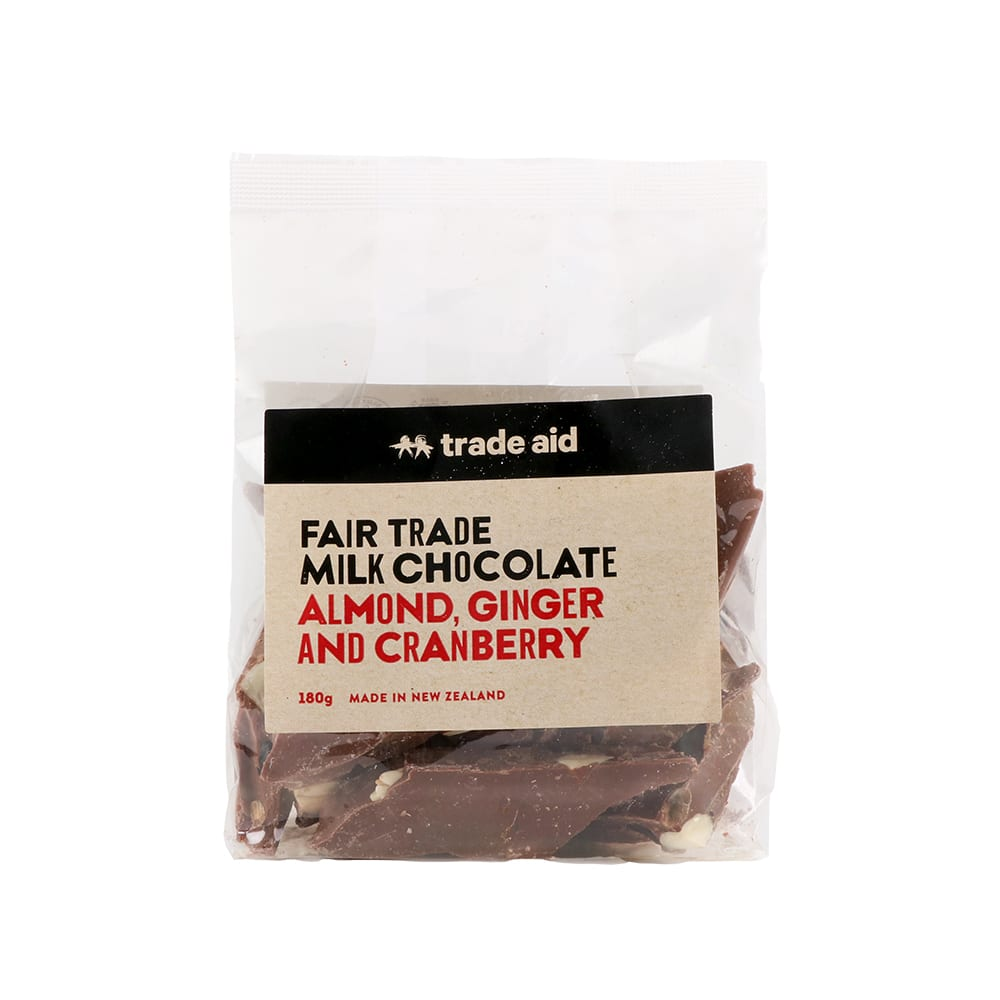 Almond, ginger and cranberry milk chocolate