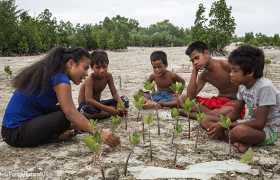 Tinaai, explains to village children from Kiribati the importance of mangroves in protecting the country's shores from coastal erosion. Credit: Vlad Sokhin/Panos/OxfamAU