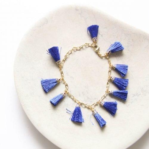 Blue tassel bracelet