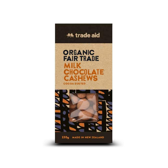 Organic 40% milk chocolate coated cashews
