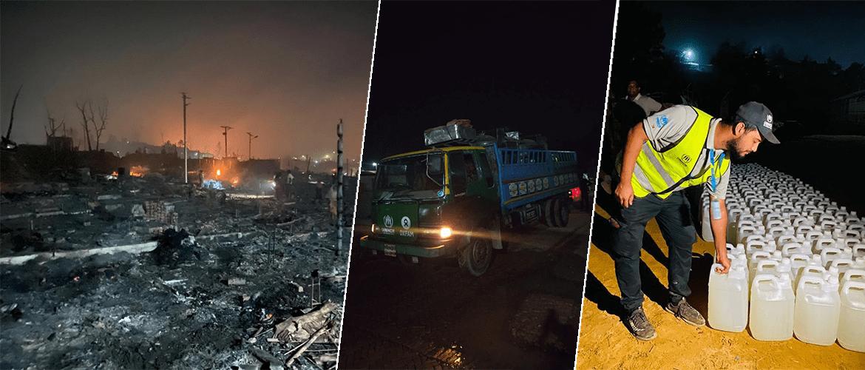Rohingya refugee camp fire