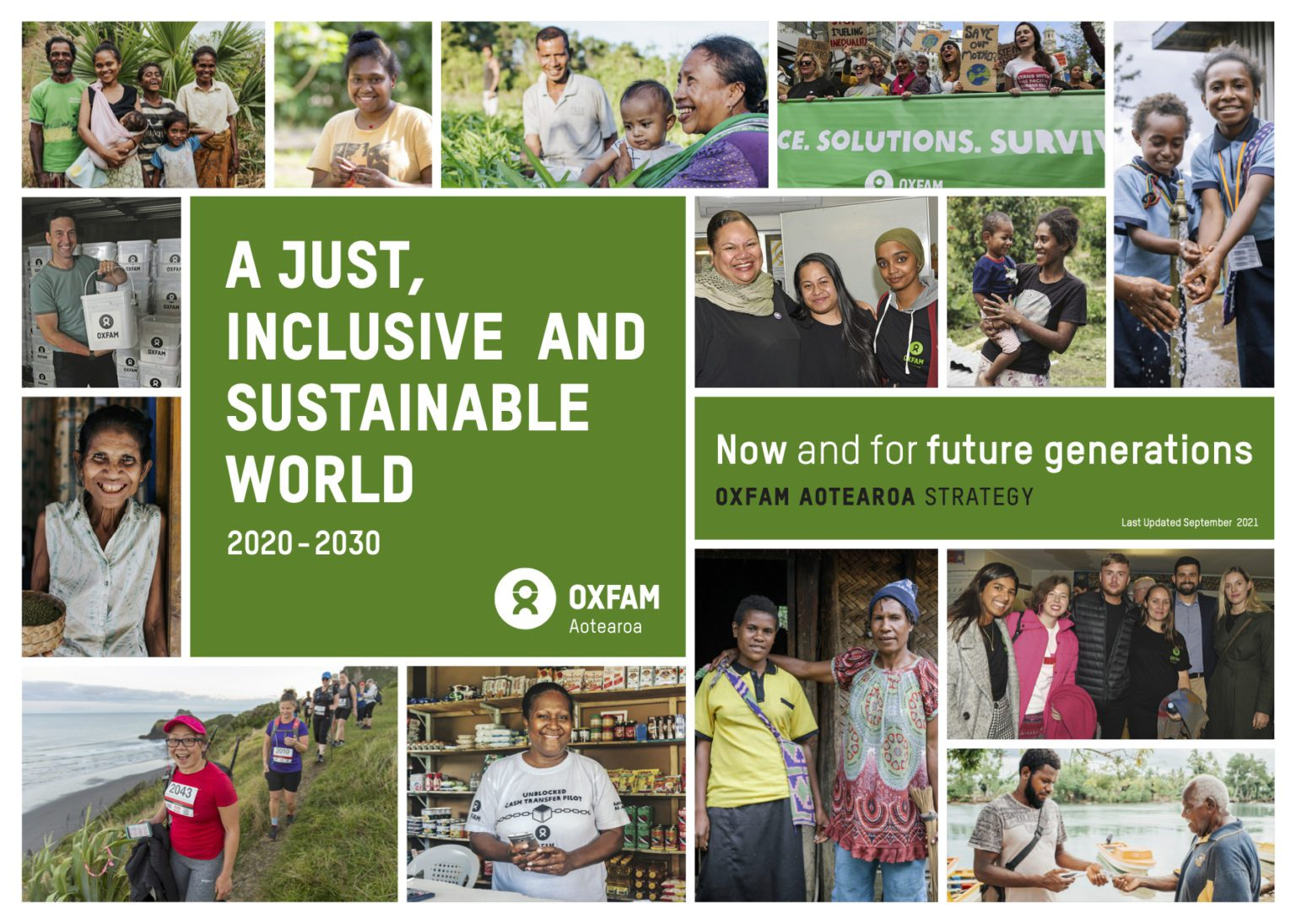 OAo Strategy title page image, a collage of images with text that reads 'A just, inclusive and sustainable world'.